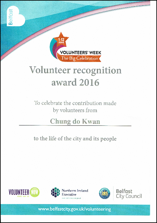 Award from Belfast City Council
